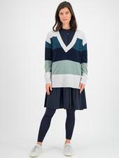 SYLVER Stripe Knit Pull V-neck - Light Grey