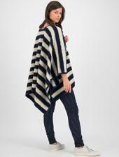 SYLVER Striped Wool Poncho - Dark Blue