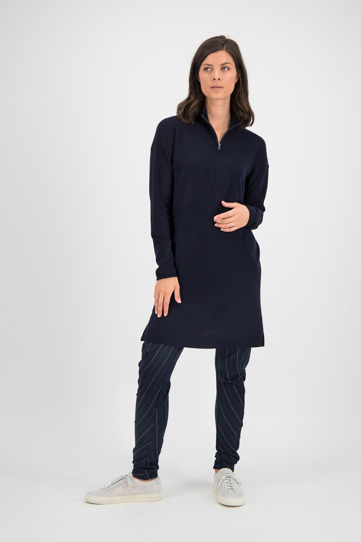SYLVER Fine Knit Pull Zipper - Dark Blue