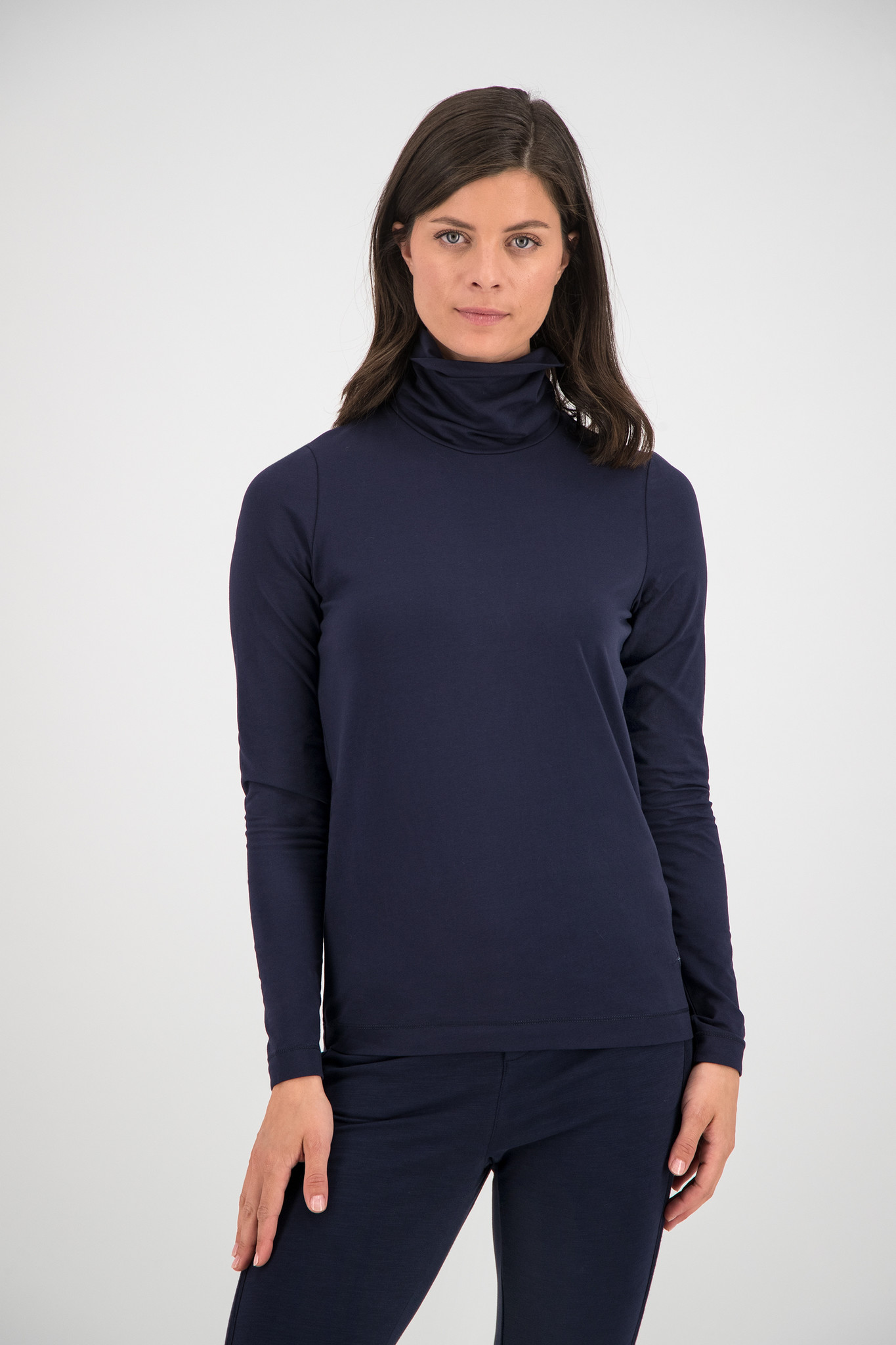 SYLVER Cotton Elastane Shirt Turtle-neck - Dark Blue