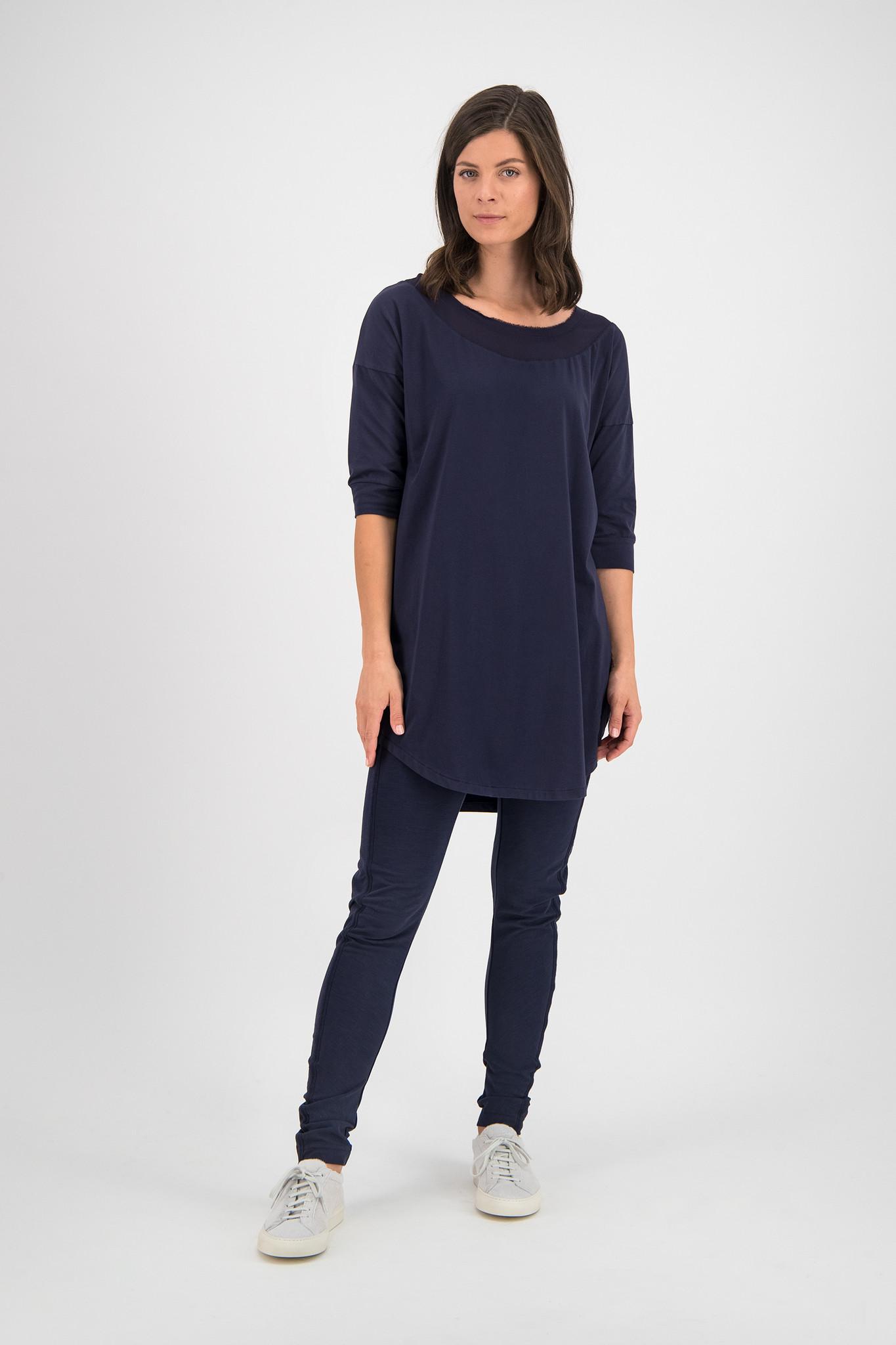 SYLVER Cotton Elastane Shirt 3/4 Sleeve - Dark Blue