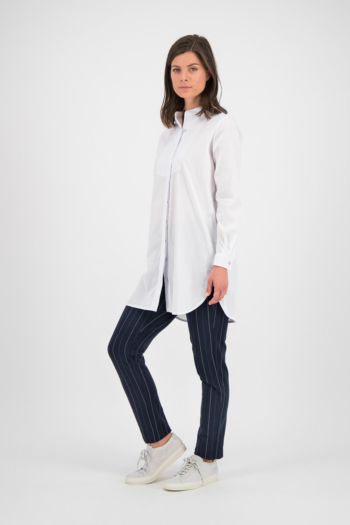 SYLVER Stretch Cotton Blouse Round-neck - White