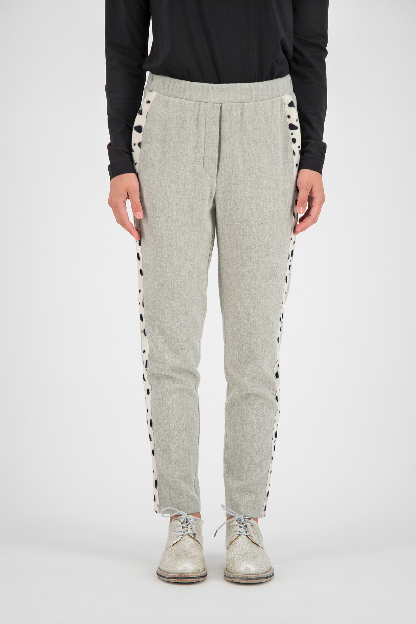 SYLVER Flannel Trousers - Light Grey