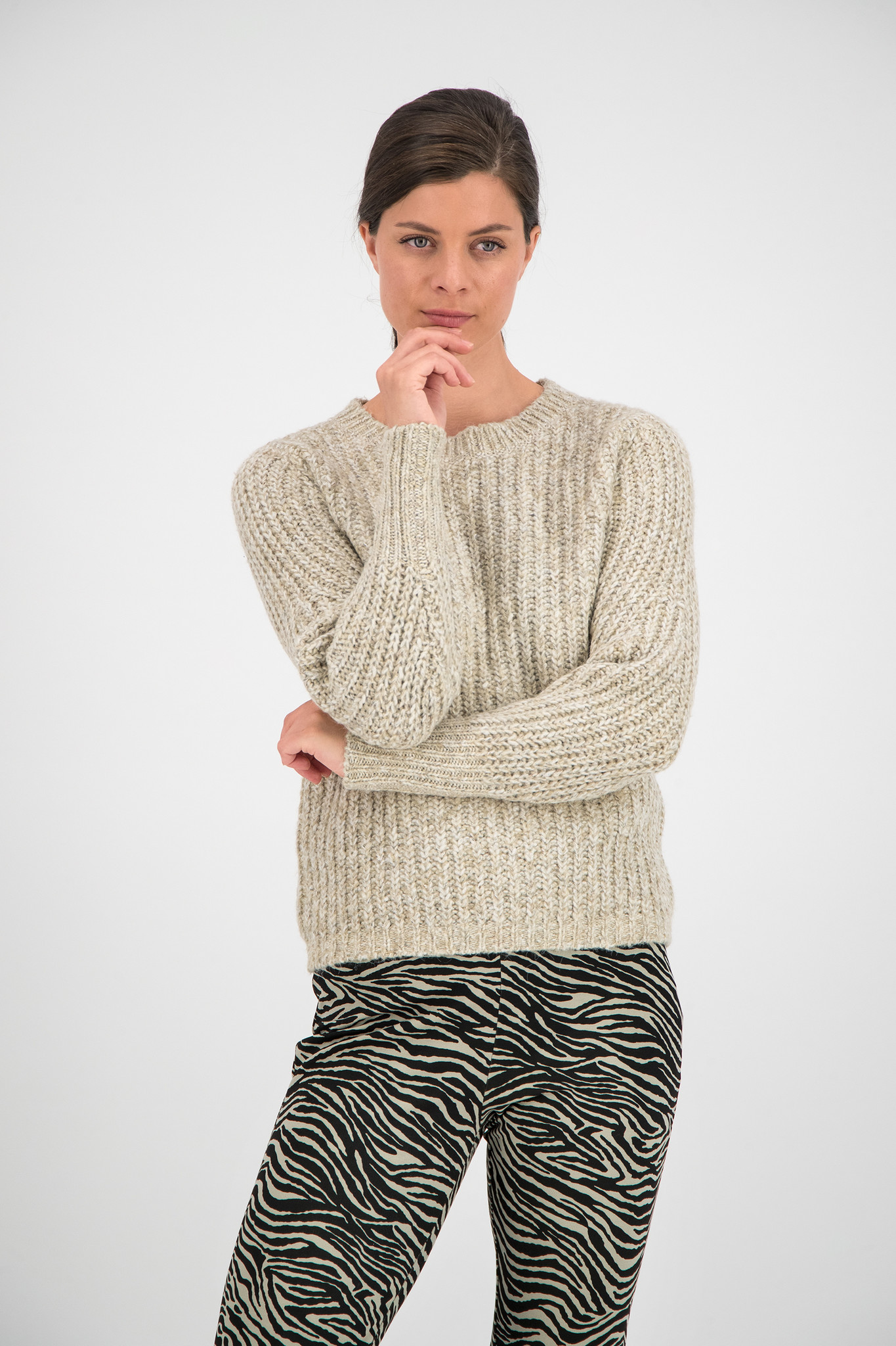 SYLVER Easter Pull Round neck - Oatmeal