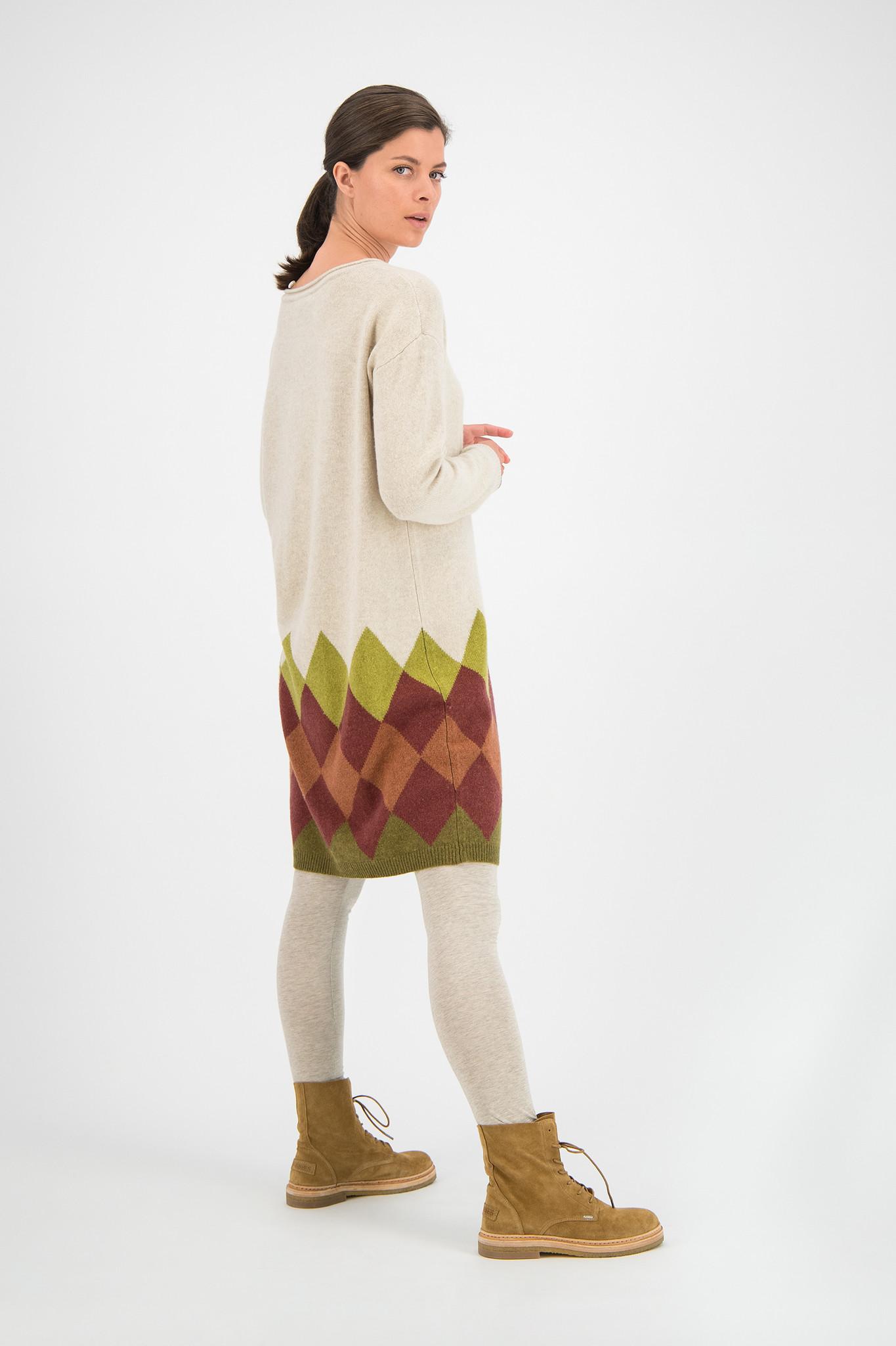 SYLVER Argyle Dress - Oatmeal