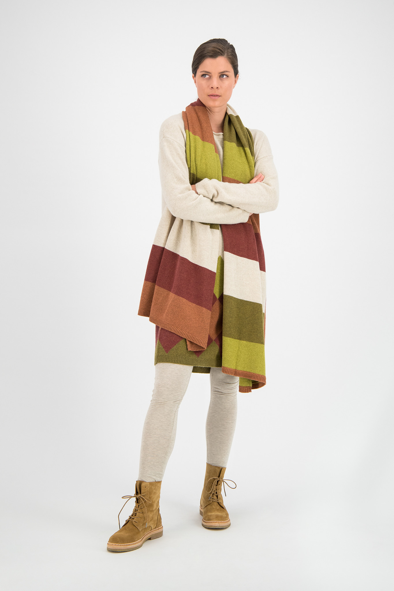 SYLVER Stripe Knit Shawl - Burnt Orange