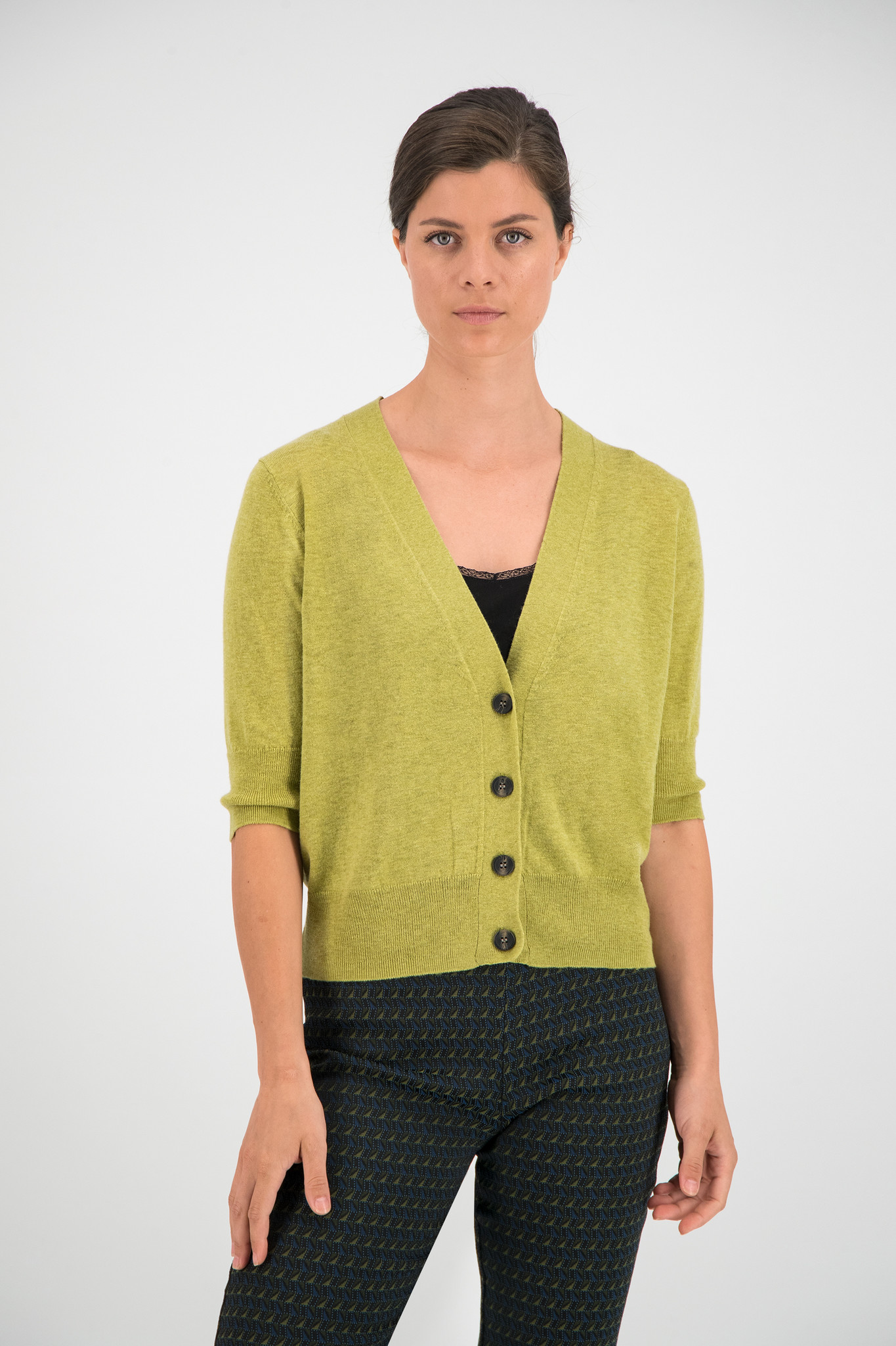 SYLVER Fine Knit Cardigan - Moss