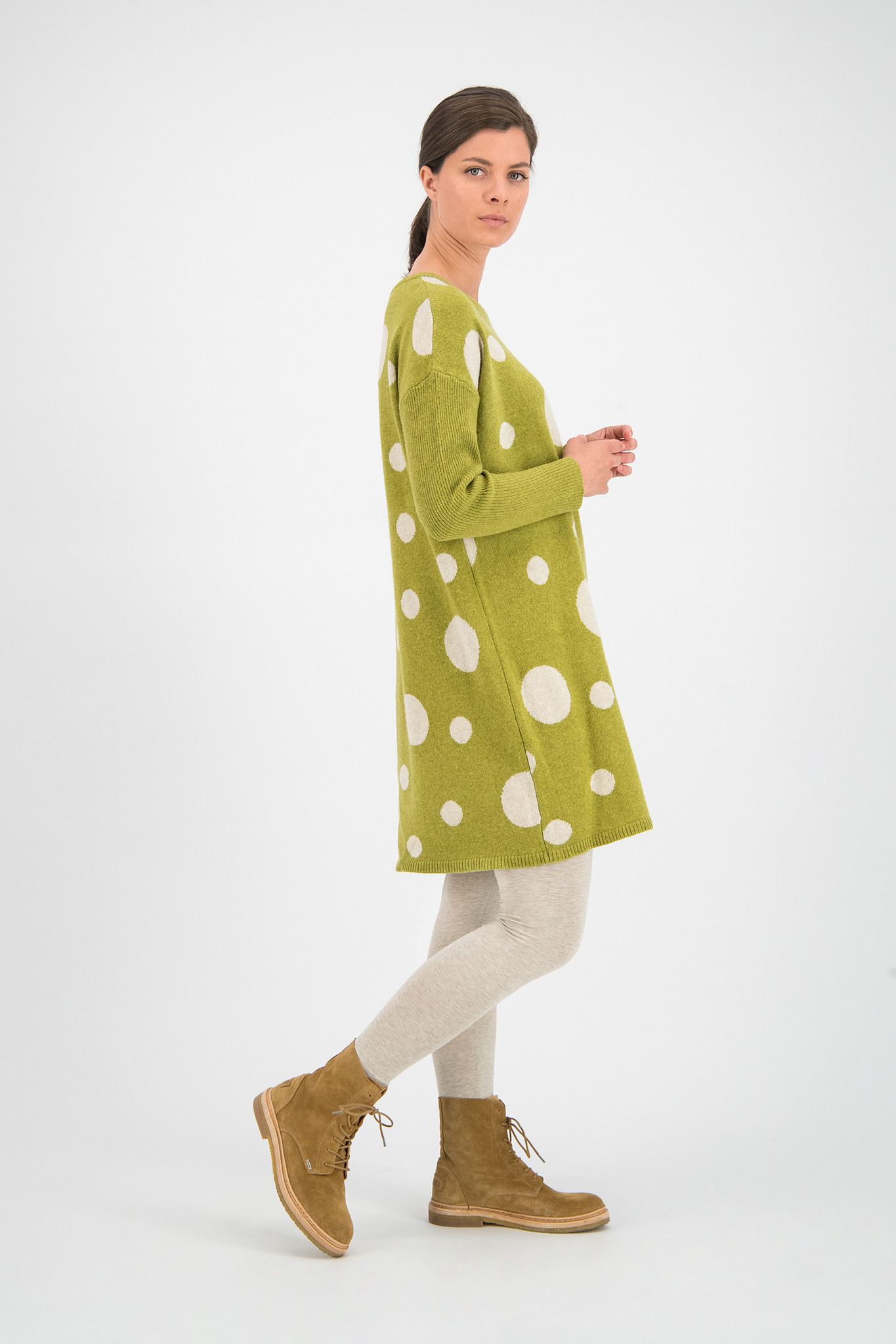 SYLVER Knitted Dot Pull - Moss