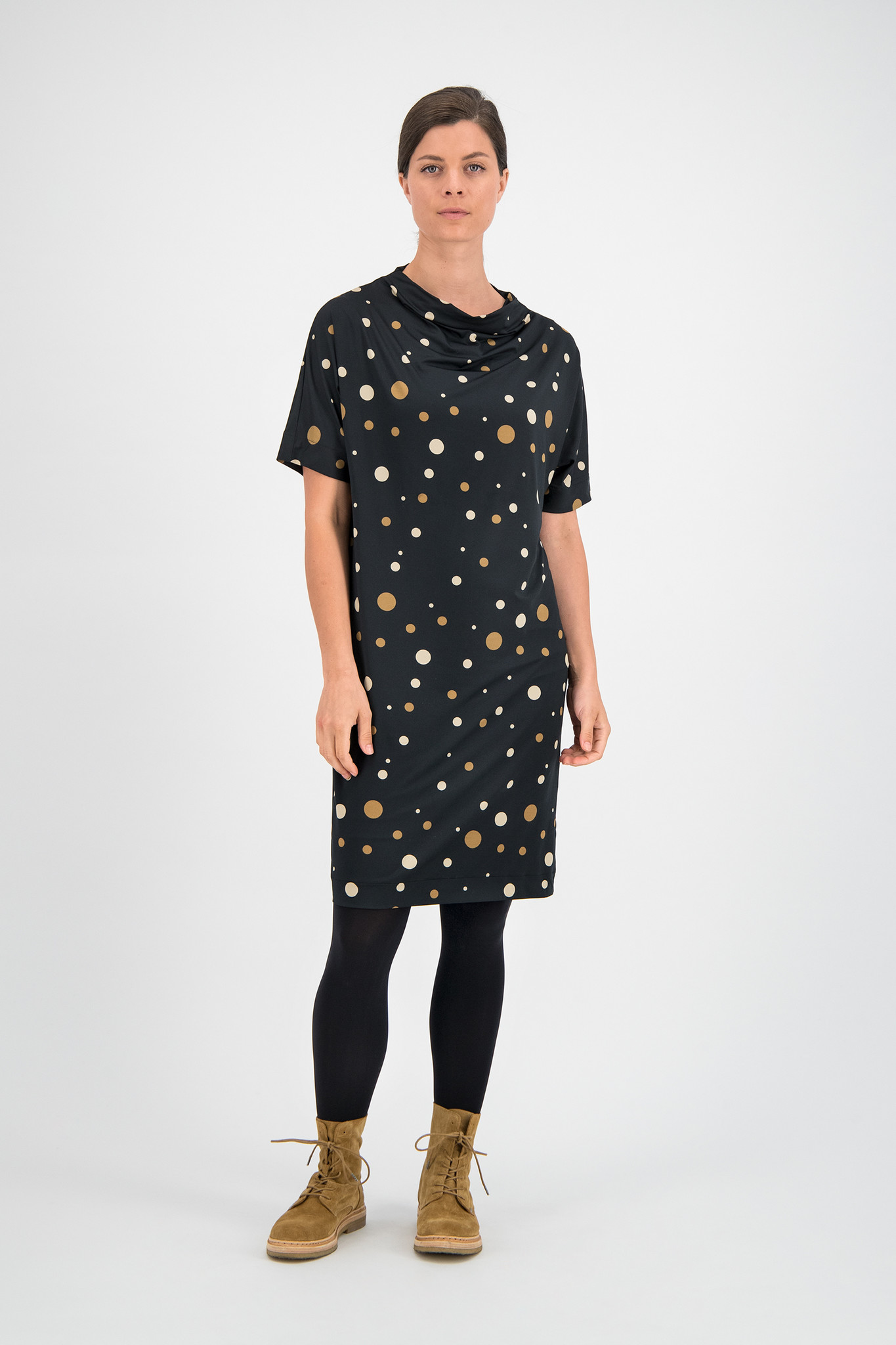 SYLVER Fantasy Dot Dress Turtle-neck - Black