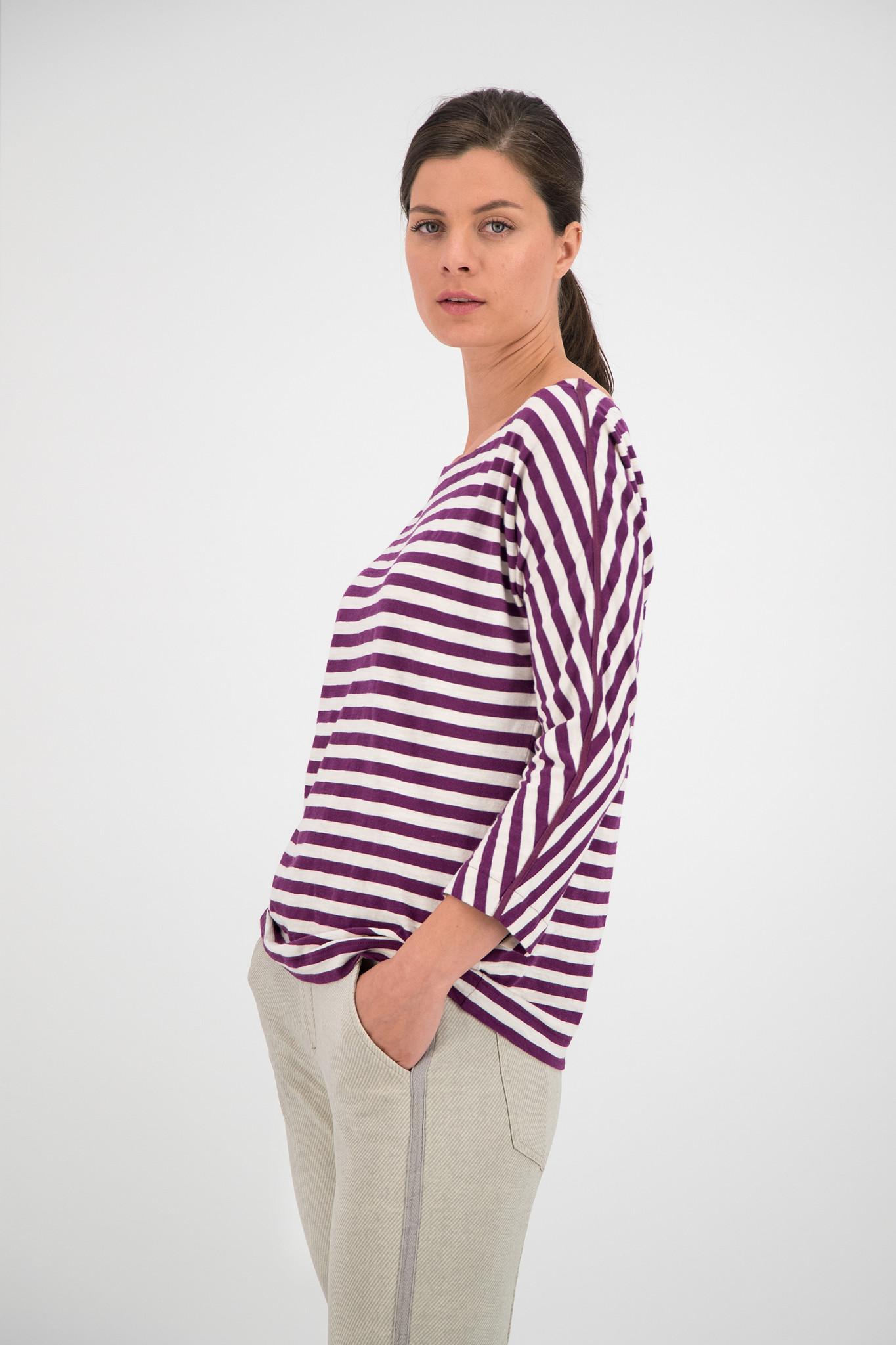 SYLVER Slub Sweat Jersey Shirt Boat-neck - Grape