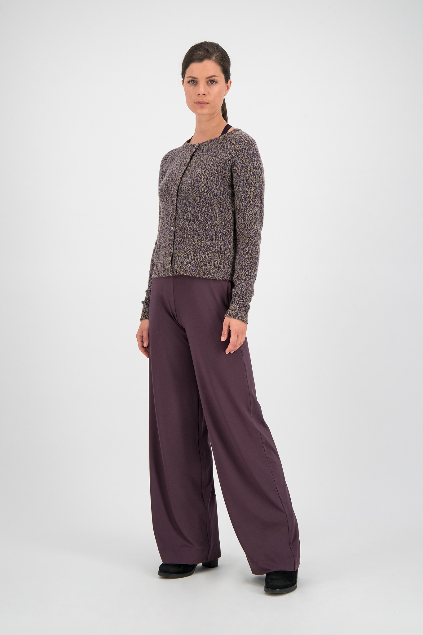 SYLVER Twisted Cardigan - Choco Wine