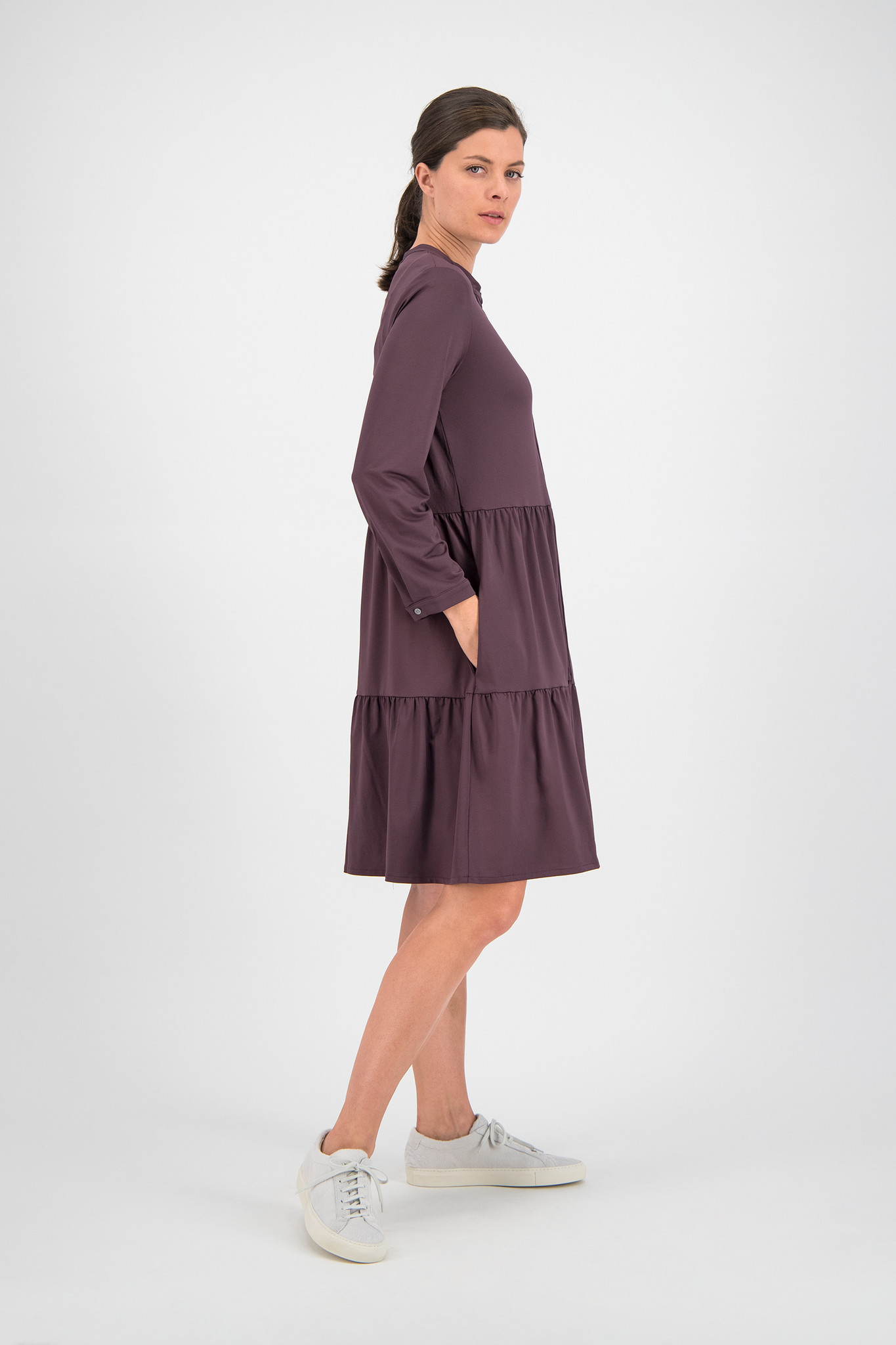 SYLVER Silky Jersey Blouse - Choco Wine