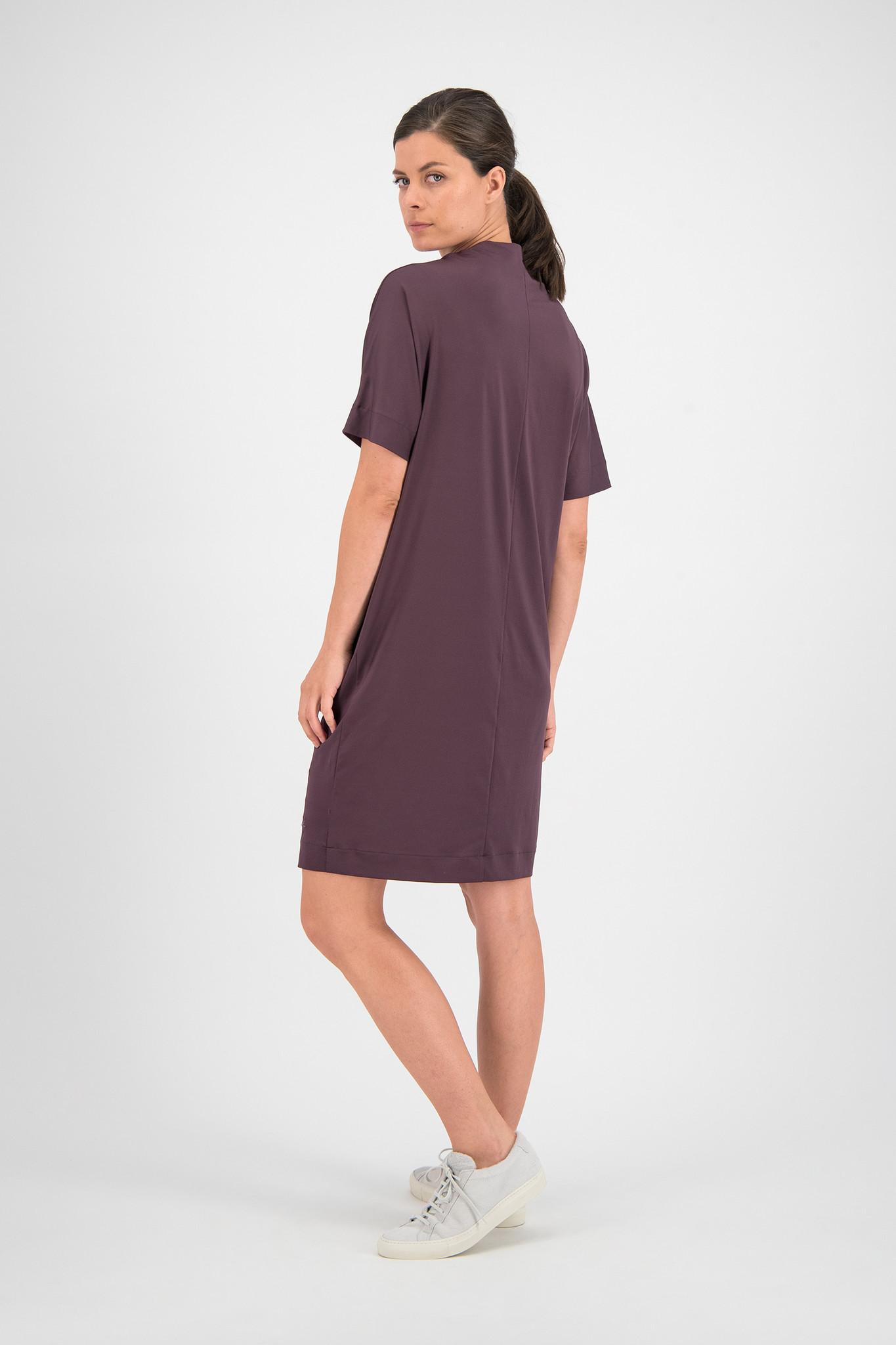 SYLVER Silky Jersey Dress Turtle-neck - Choco Wine