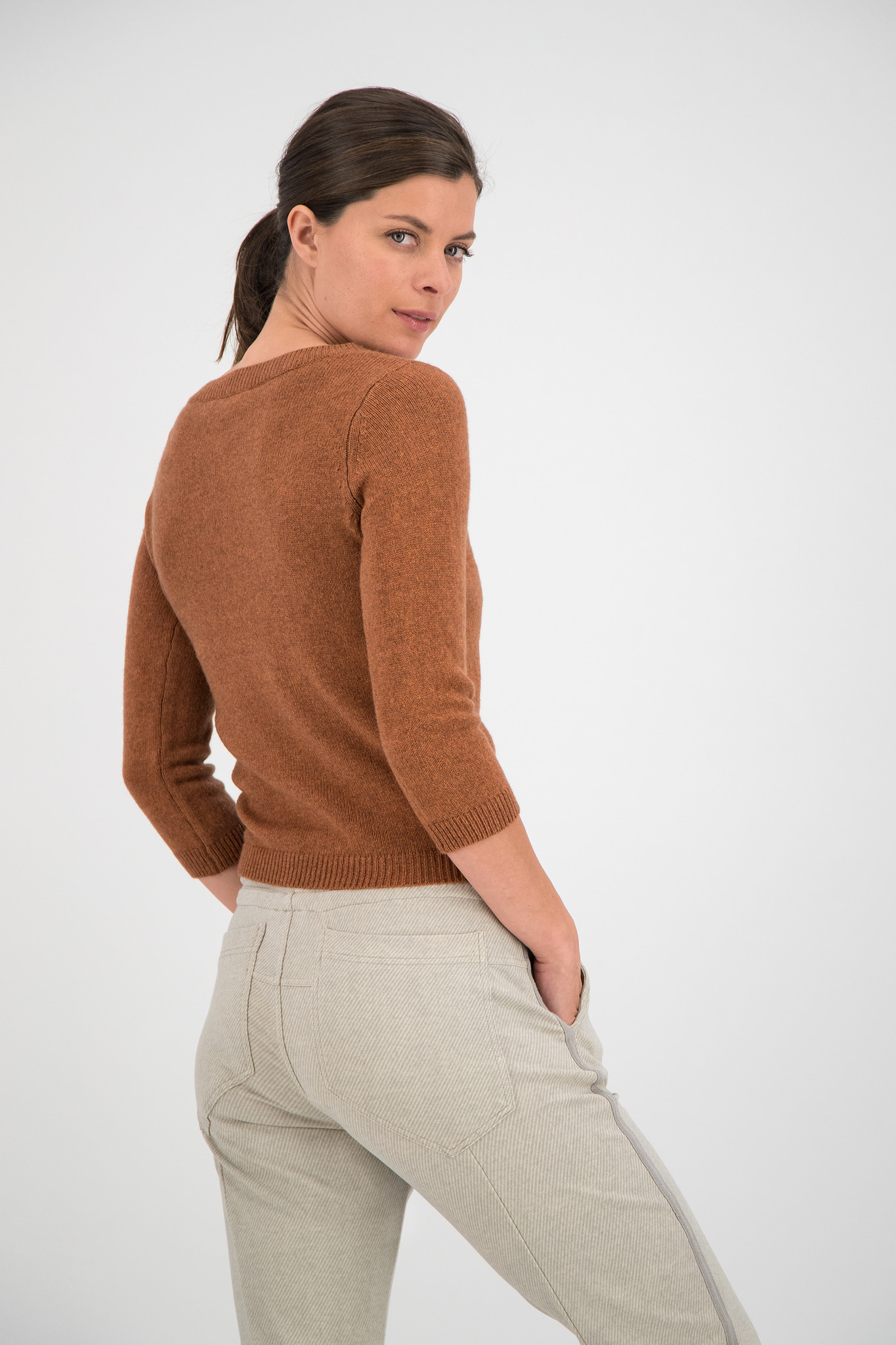 SYLVER Merino Mix Pull - Burnt Orange