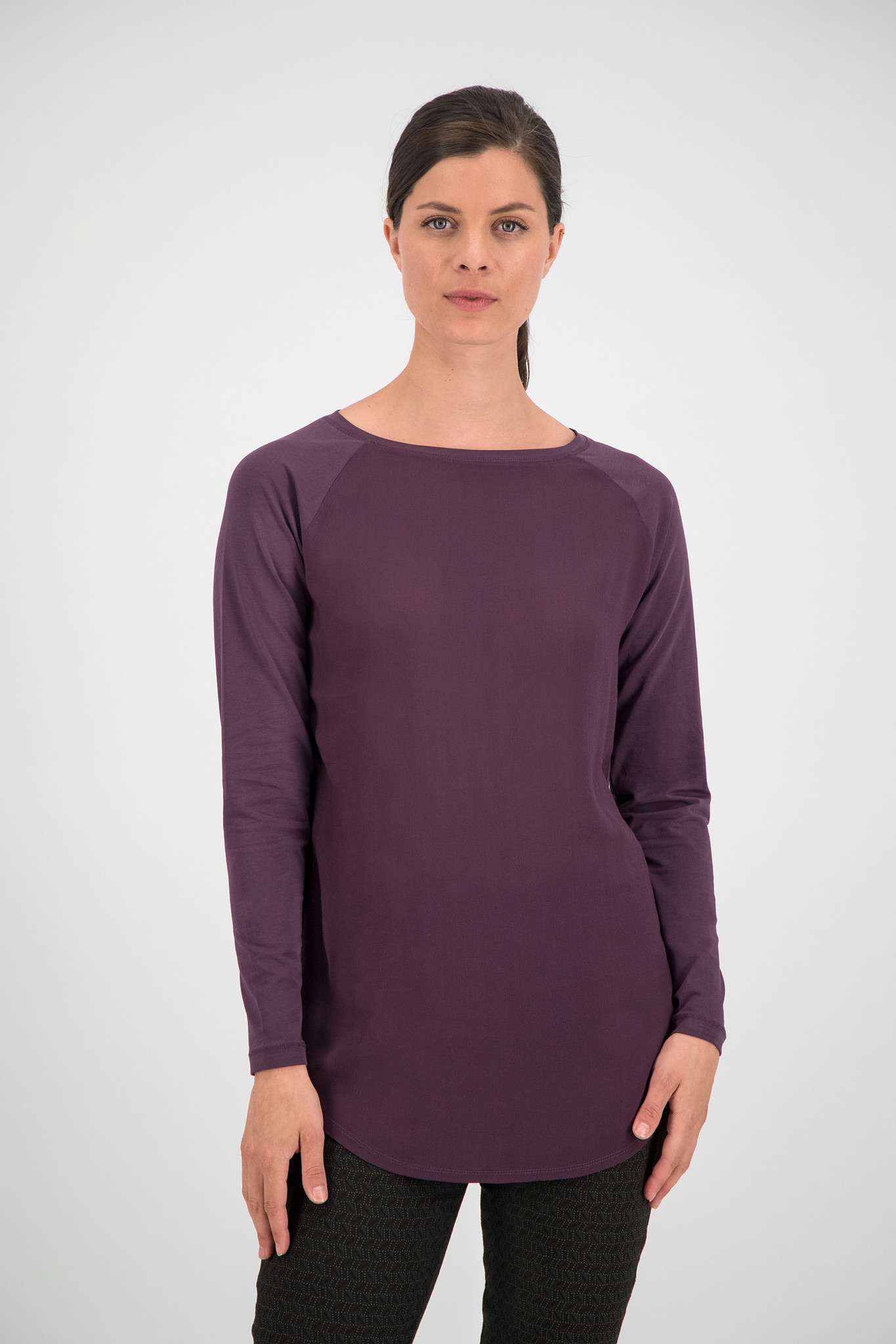 SYLVER Cotton Elastane Shirt Long Sleeve - Choco Wine