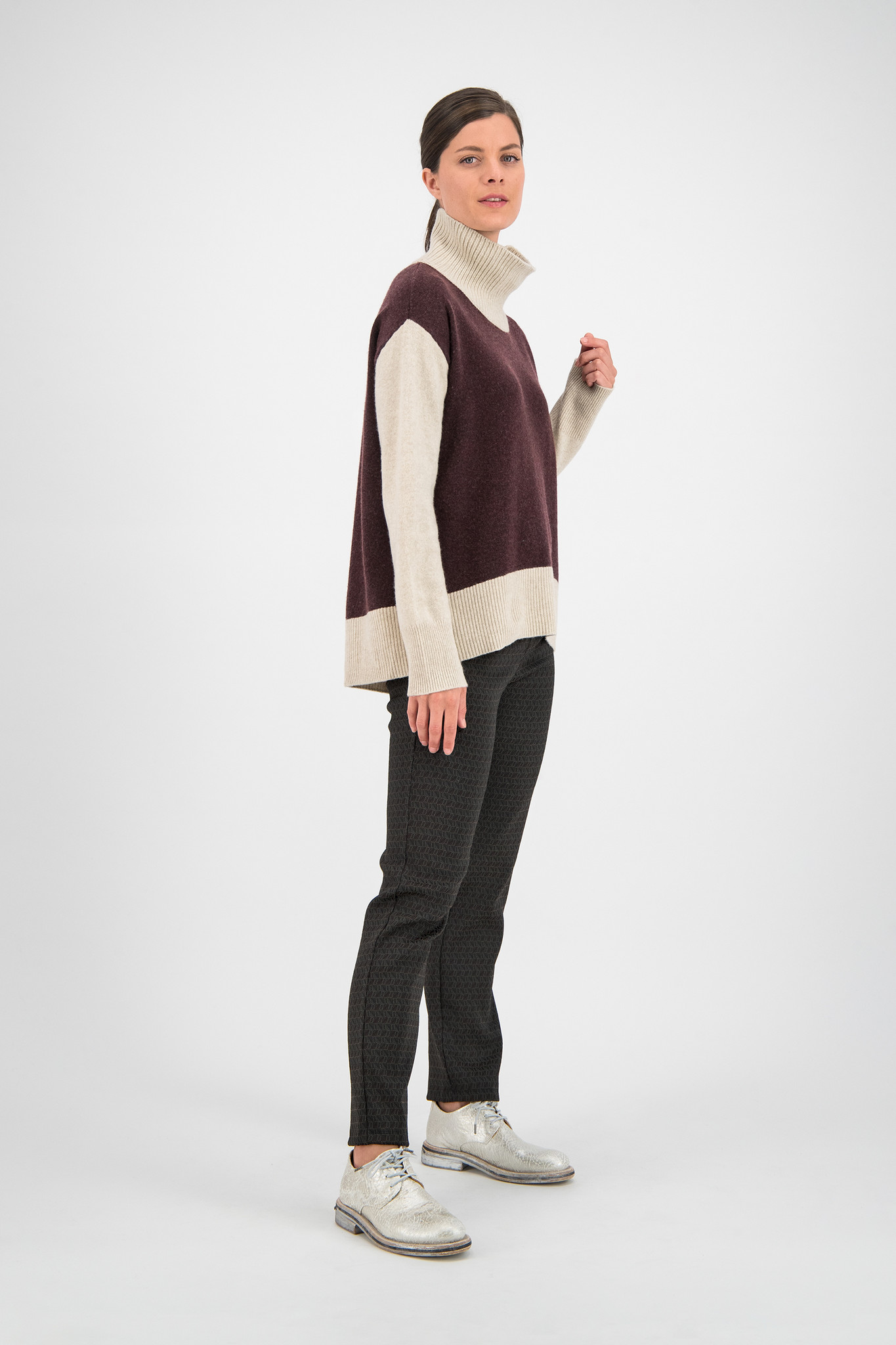 SYLVER Fancy Trousers Straight - Choco Wine