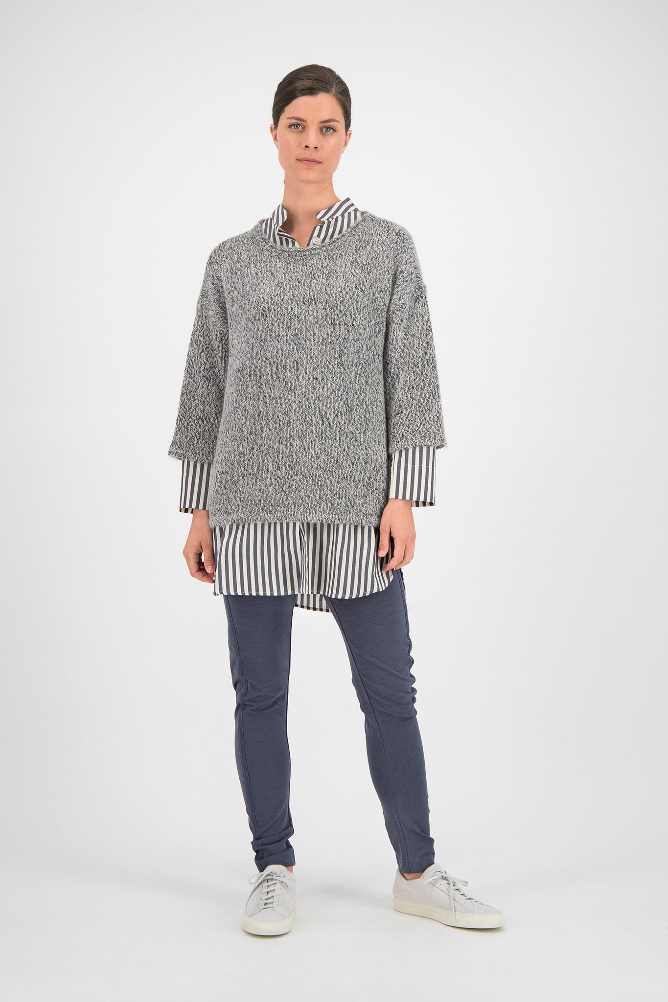 SYLVER Cotton Stripe Blouse Round-neck - Grey