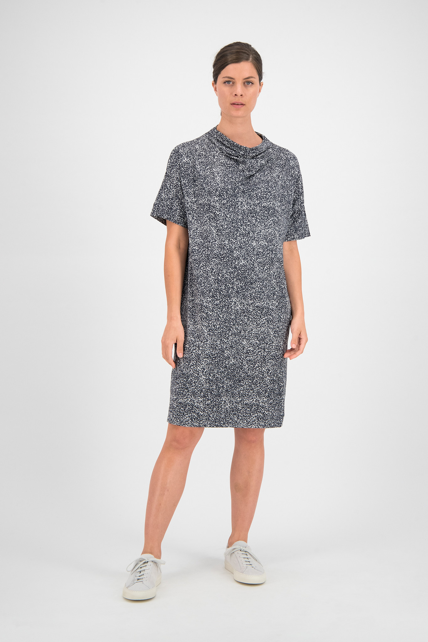 SYLVER Gravel Silky Jersey Dress Turtle-nec - Grey