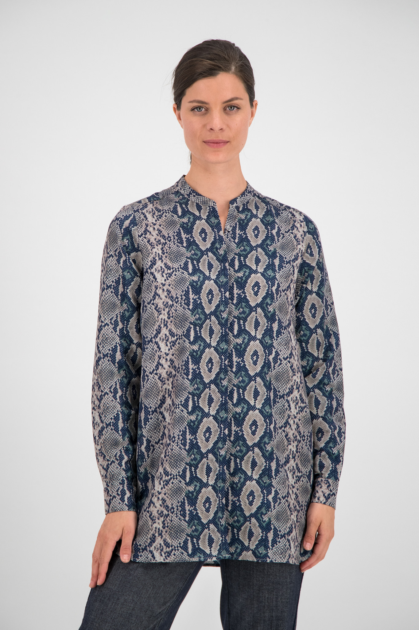 SYLVER Snake Blouse - Dark Blue