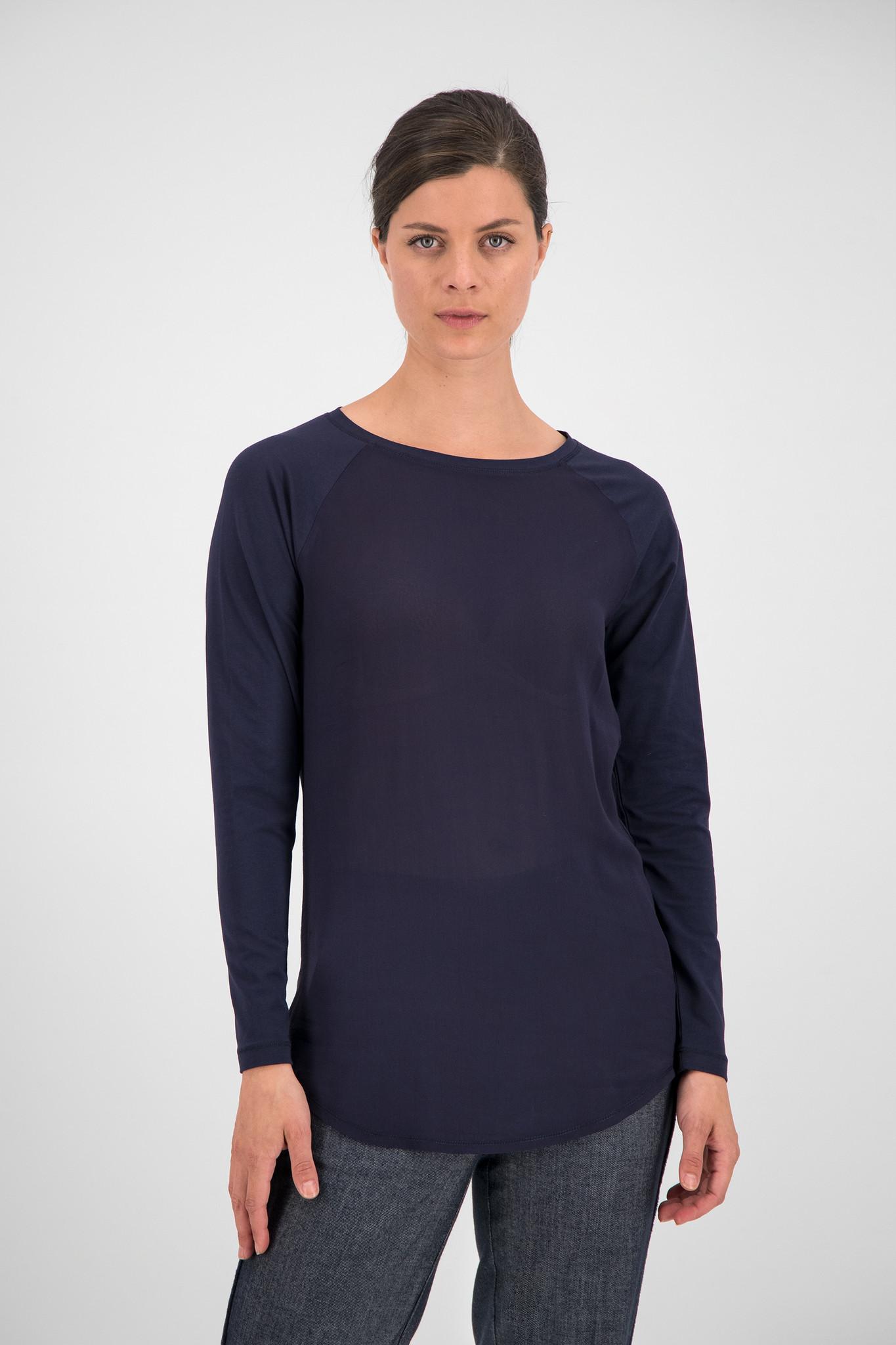 SYLVER Cotton Elastane Shirt Long Sleeve - Dark Blue