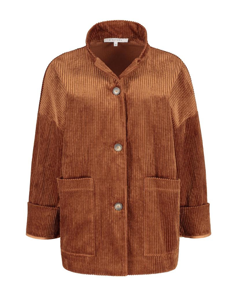 SYLVER Wide Cord Jacket - Burnt Orange