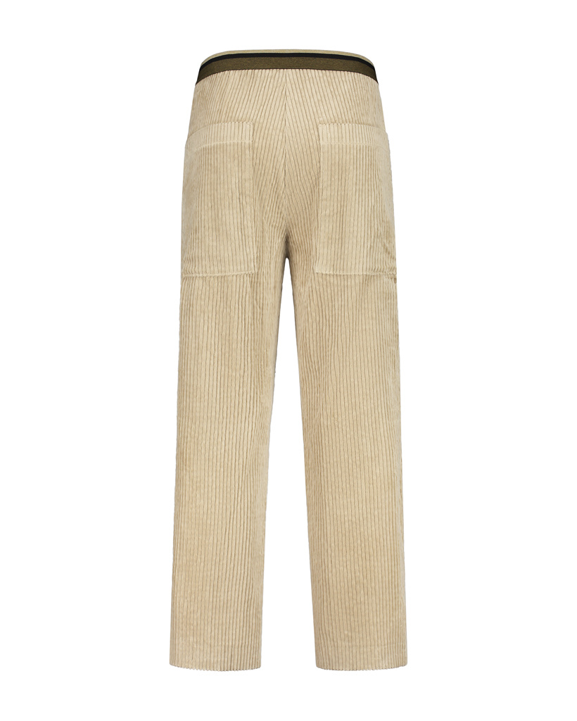 SYLVER Wide Cord Trousers - Oatmeal