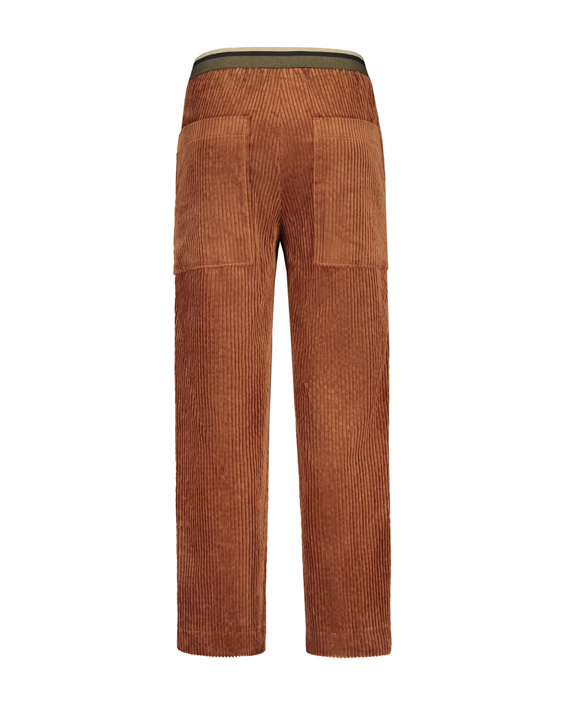 SYLVER Wide Cord Trousers - Burnt Orange