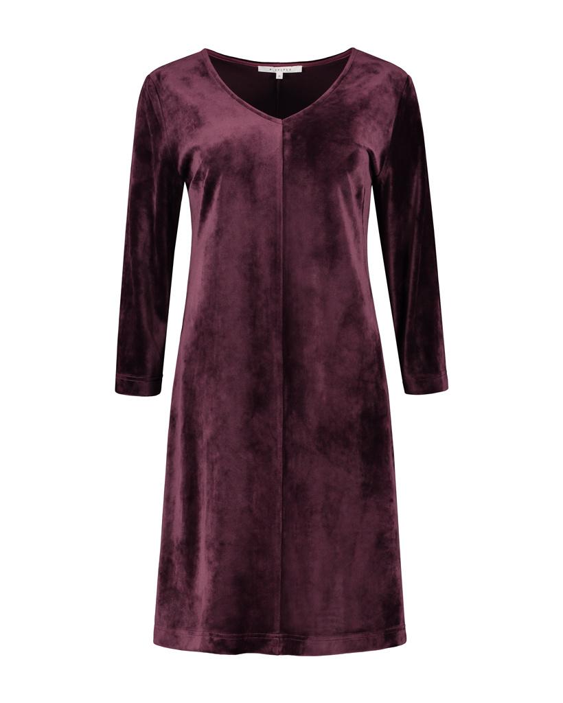 SYLVER Velvet Dress V-neck - Choco Wine
