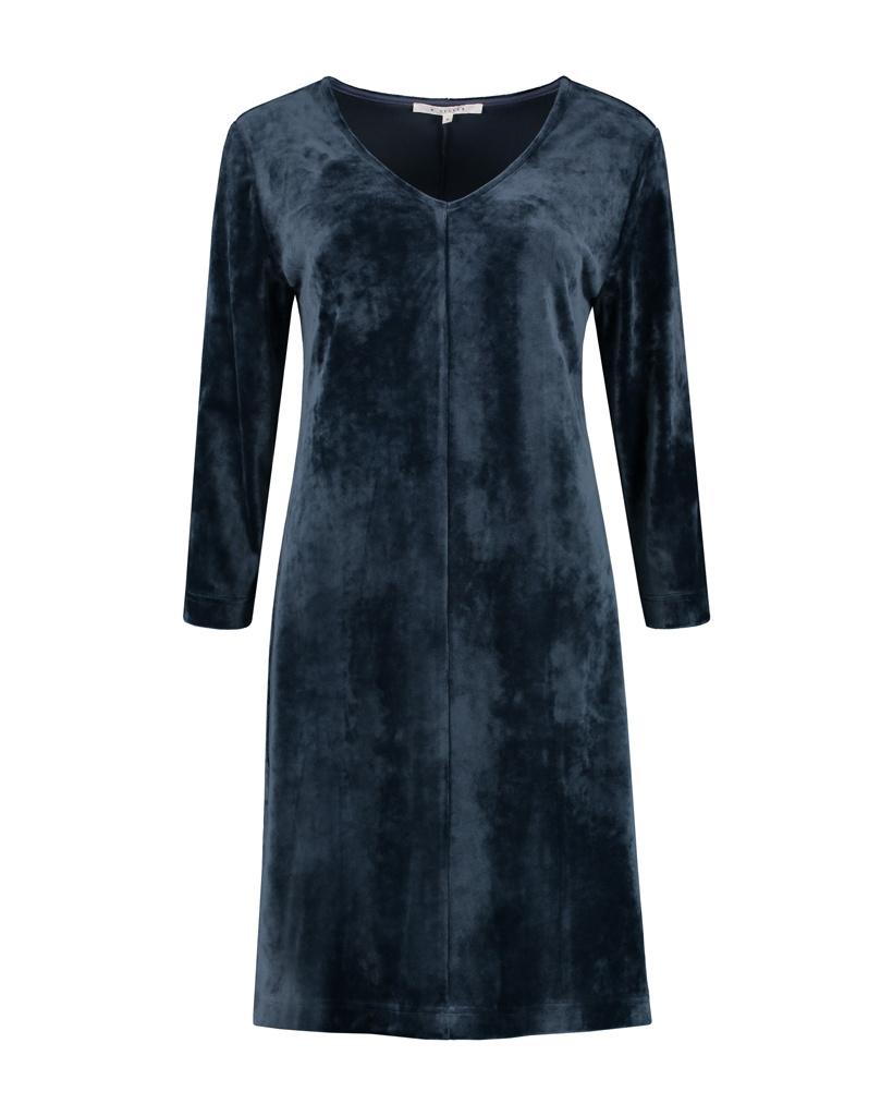 SYLVER Velvet Dress V-neck - Dark Blue