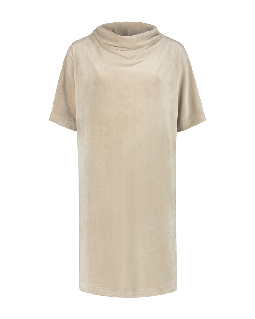 SYLVER Velvet Dress Turtle-neck - Oatmeal