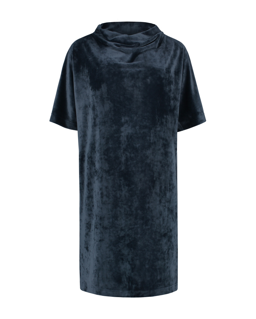 SYLVER Velvet Dress Turtle-neck - Dark Blue