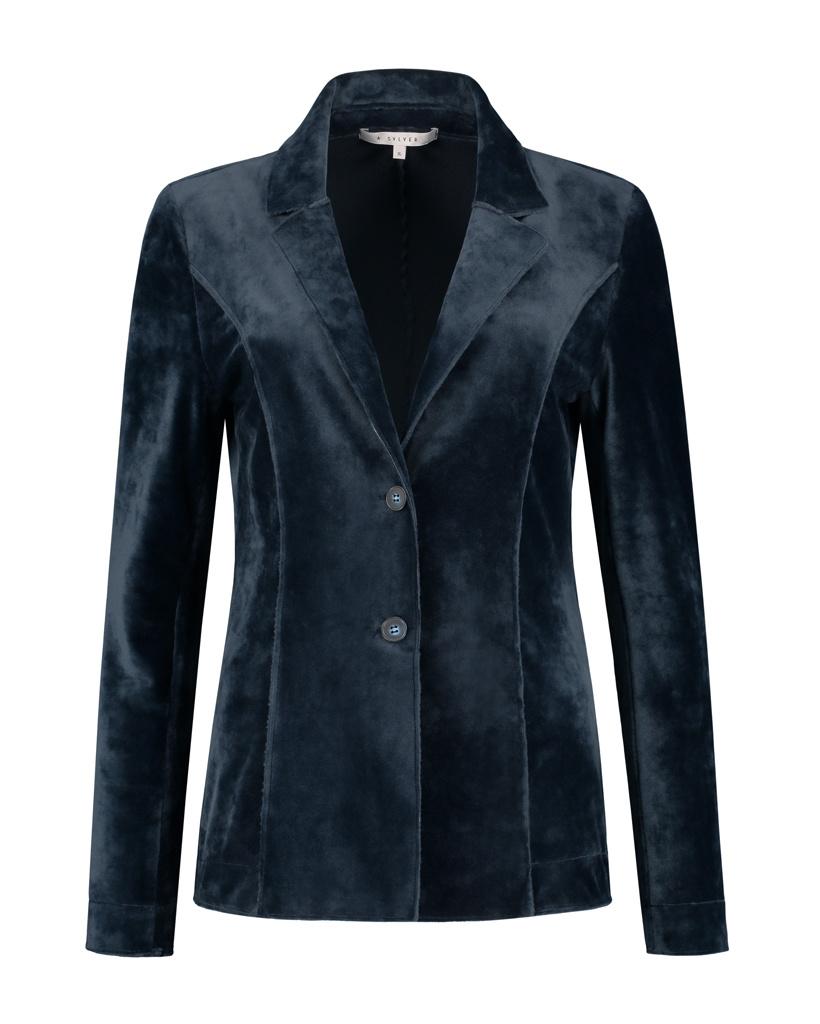 SYLVER Velvet Blazer - Dark Blue