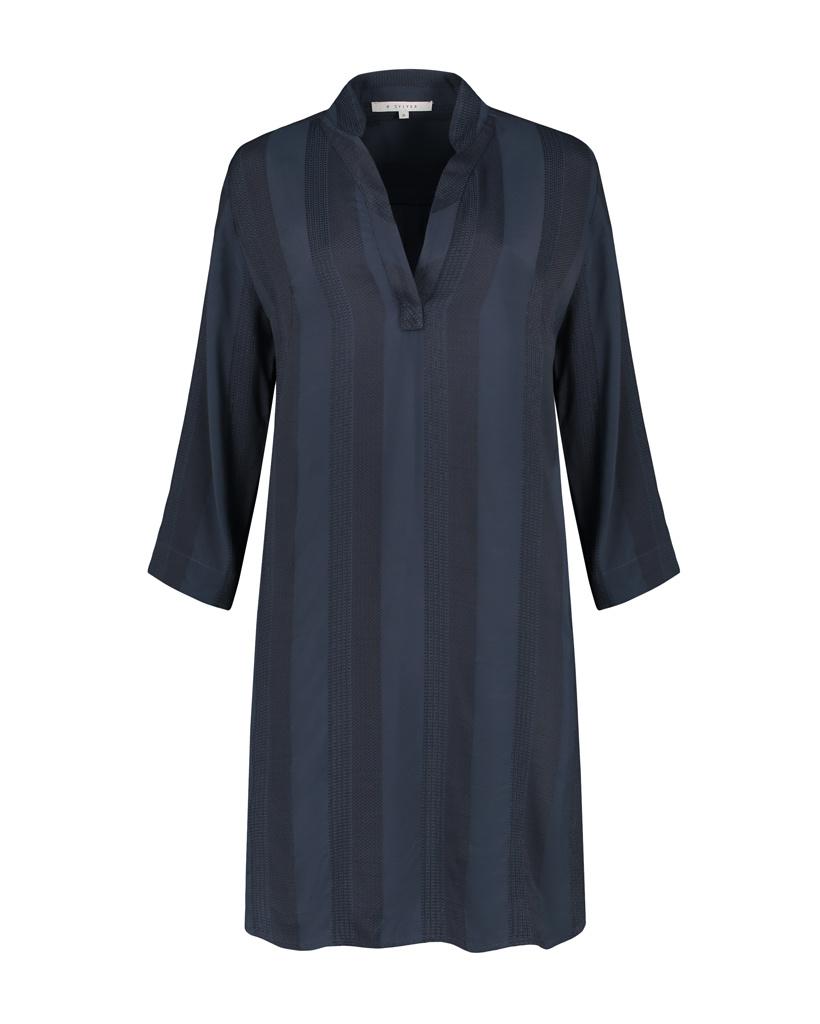 SYLVER Jacquard Stripe Dress - Dark Blue