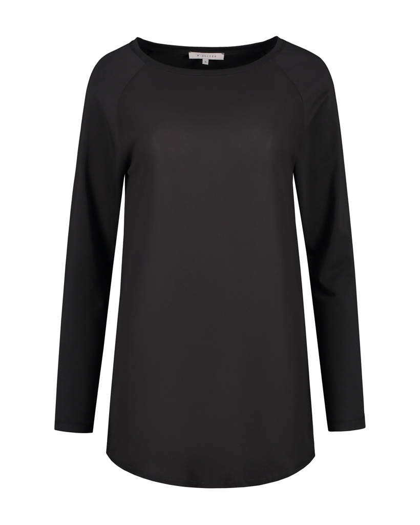 SYLVER Cotton Elastane Shirt Long Sleeve - Black