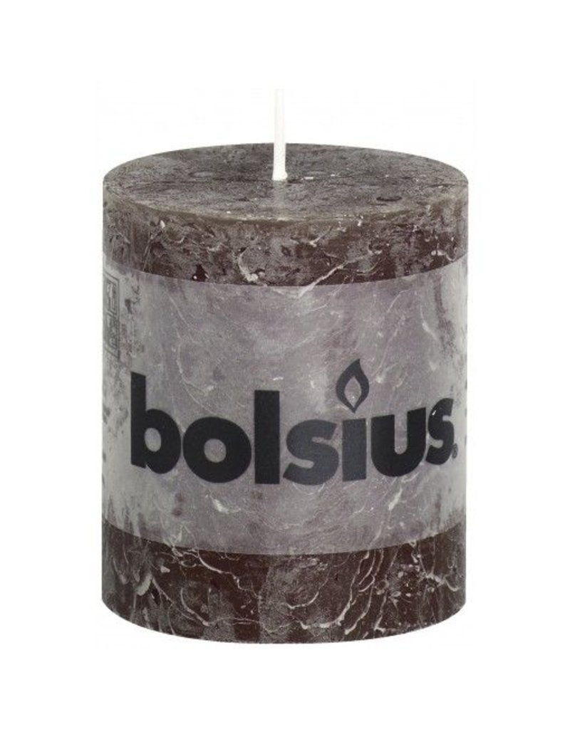 Bolsius Bolsius stompkaars rustiek 80 x 70 mm chocolade bruin