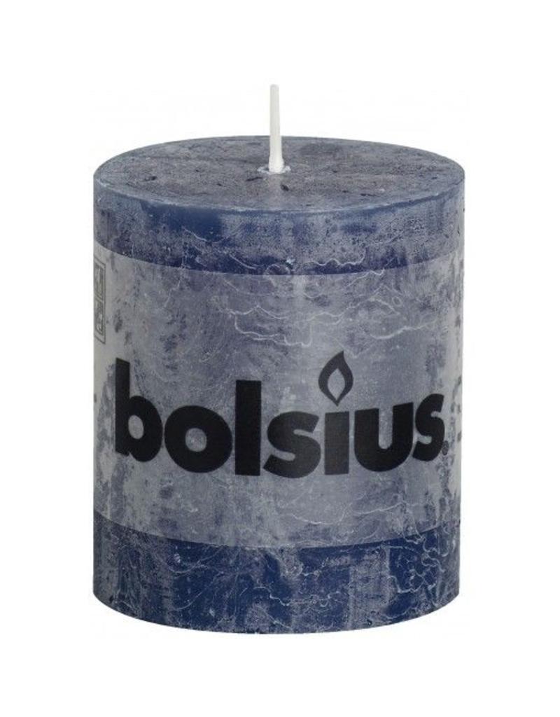 Bolsius Bolsius stompkaars rustiek 80 x 70 mm donker blauw