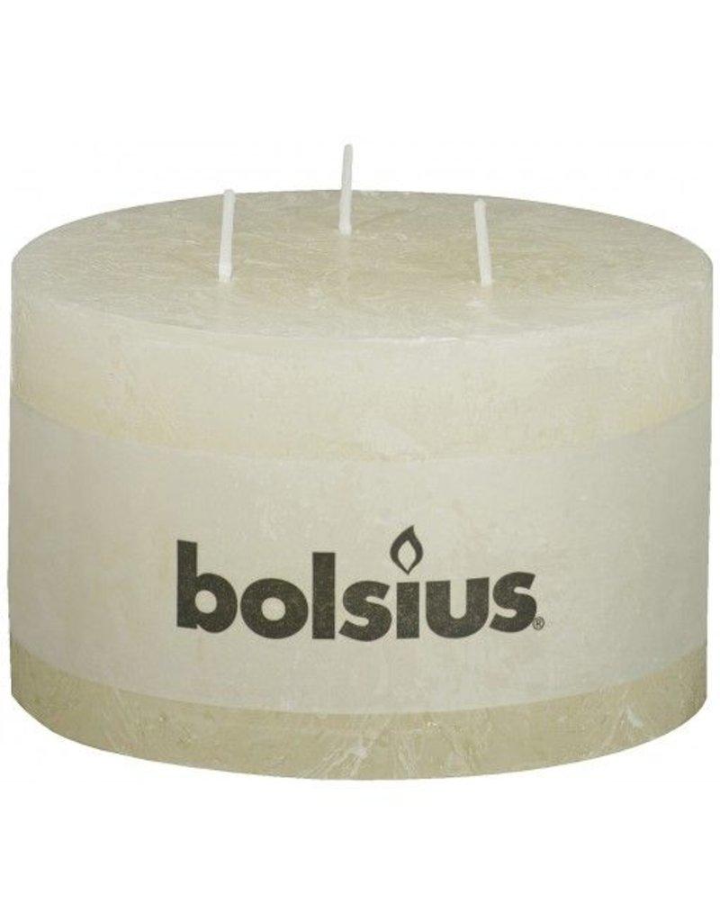 Bolsius Bolsius stompkaars 90x140mm rustiek 3-pit ivoor