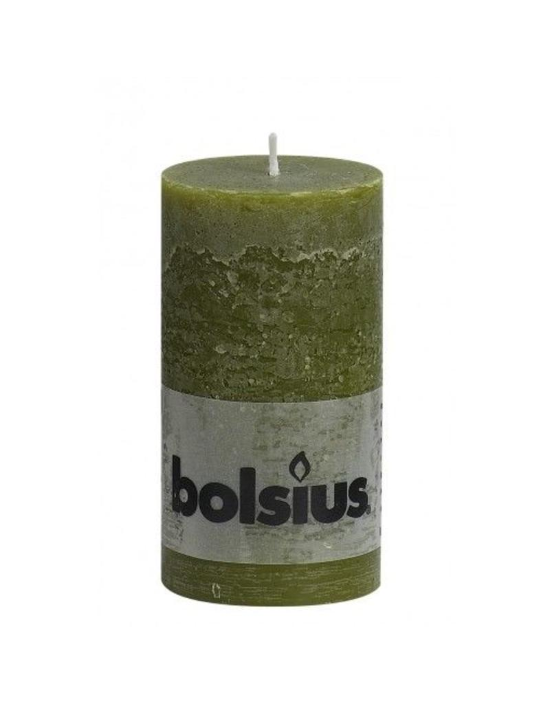 Bolsius Bolsius stompkaars rustiek 130x70mm olijf