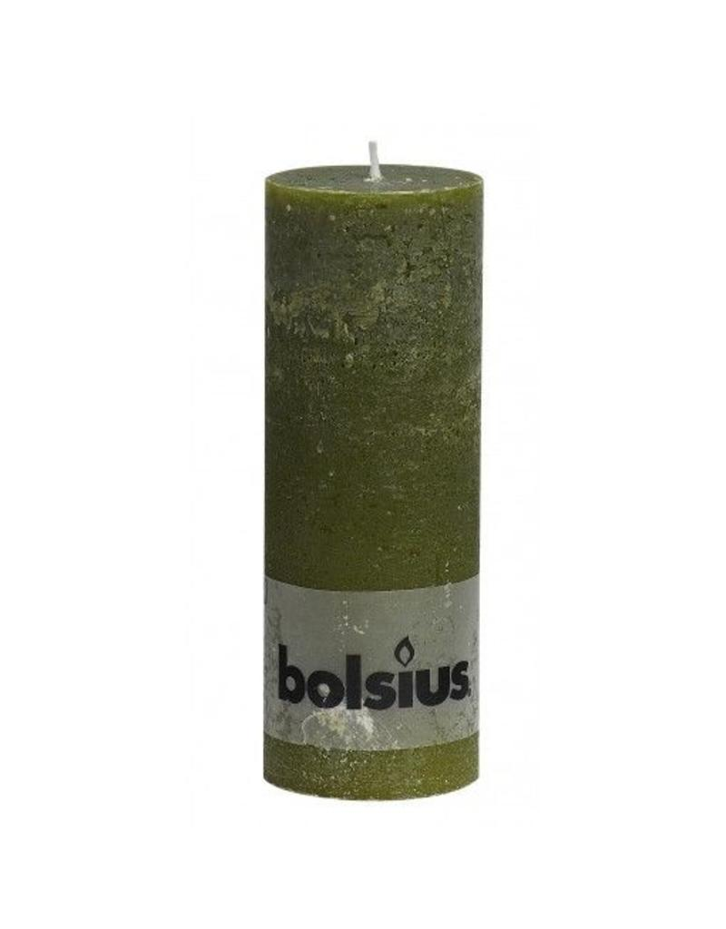 Bolsius Bolsius stompkaars rustiek 190x70mm olijf