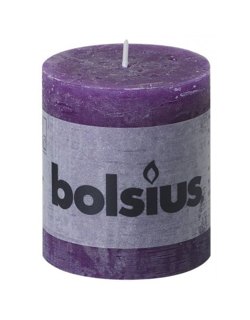 Bolsius Bolsius stompkaars rustiek 80x70mm paars