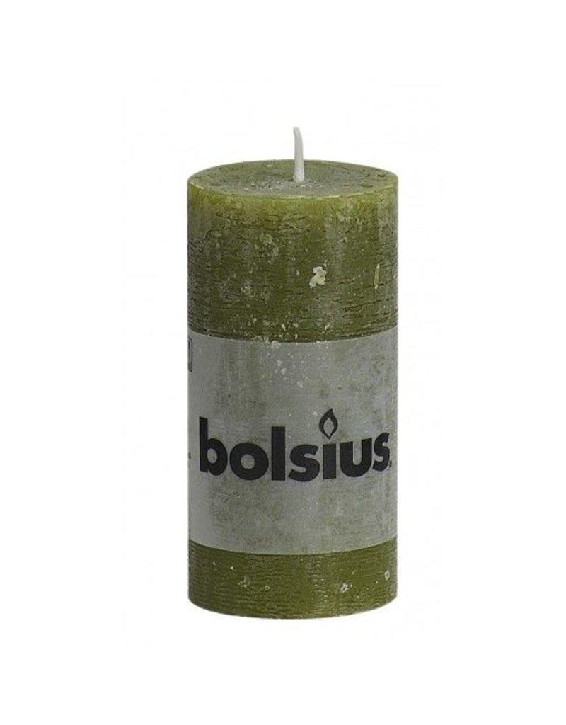 Bolsius Bolsius stompkaars rustiek 100x50mm olijf