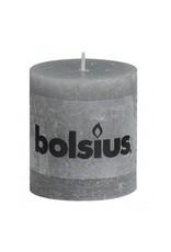 Bolsius Bolsius stompkaars rustiek 80x70mm lichtgrijs