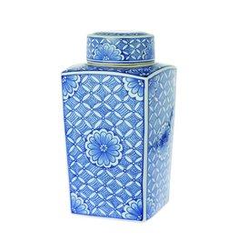 Riverdale Dekselpot Flower blauw 32cm