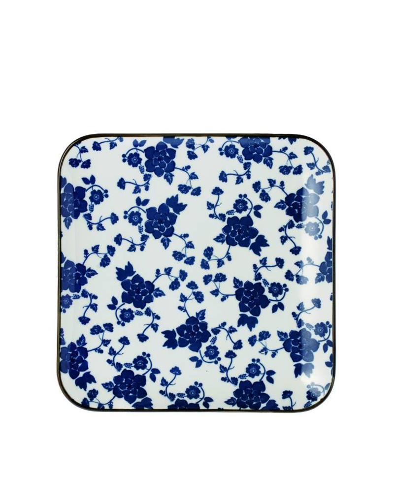 Riverdale Bord Floral blue vierkant 20cm