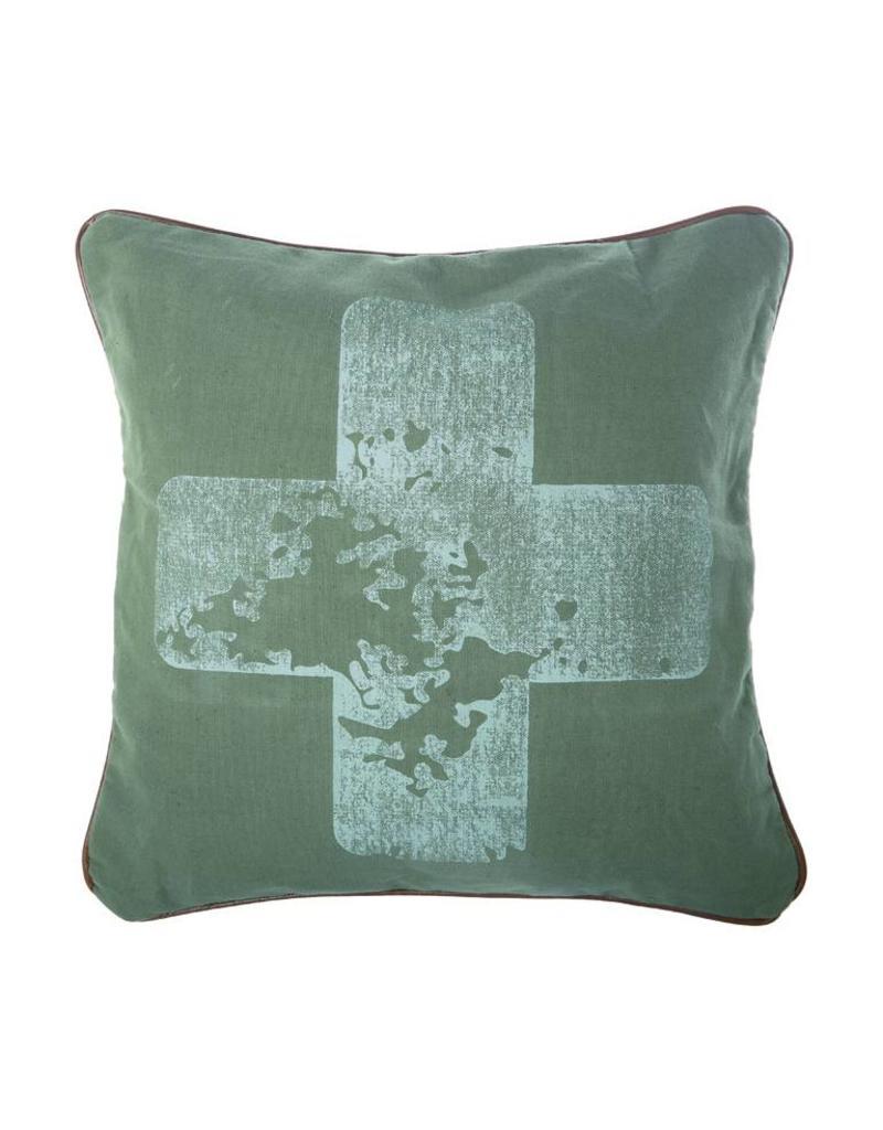 Riverdale Kussen Cross groen 45x45cm