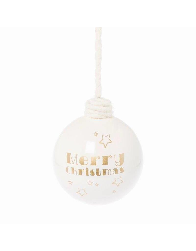 Riverdale Kerstbal Merry wit/goud 10cm
