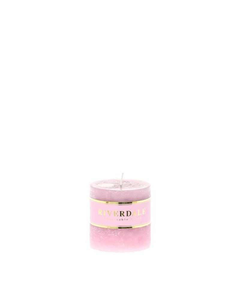 Riverdale Kaars Pillar roze 7x7cm