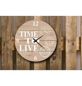 Tekstborden KLOK TIME TO LIVE WIT 76X76CM BEIGE
