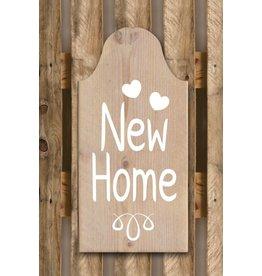 Tekstborden HUISJE NEW HOME 19X40CM BEIGE
