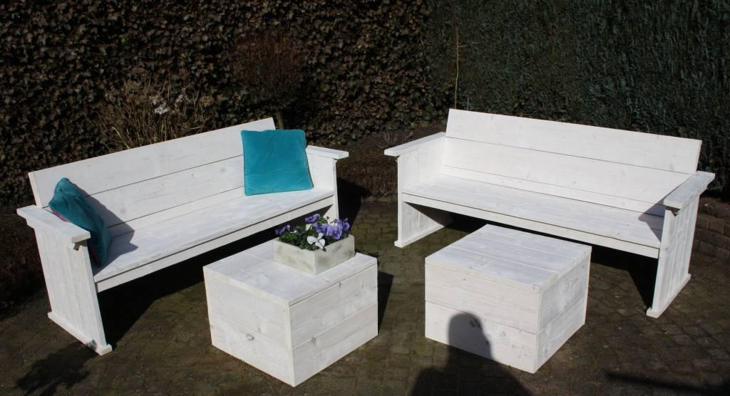 Summer Breeze Tuinset van steigerhout in white wash